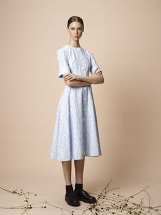 Hazel Crew is wearing our embroidered cotton dress.