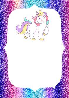 Invitaciones de unicornio para imprimir Unicorn Shirt, Cute Unicorn, Ideas Aniversario, Unicorn Birthday Invitations, School Labels, Pony Party, Topper, 7th Birthday, Diy For Kids