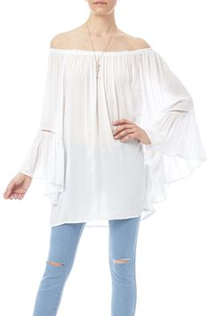 Off-shoulder 3/4 ruffle sleeve top with eyelet detail and bell cuffs. Ruffle Sleeve Top by Elan. Clothing - Tops - Blouses & Shirts Clothing - Tops - Long Sleeve New York City
