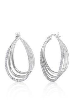 Belk  Co.  Diamond Twisted Hoop Earrings in Sterling Silver