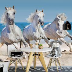 Fotobehang Paarden op het strand | Maak het jezelf makkelijk en bestel fotobehang voorzien van een lijmlaag bij YouPri om zo jouw woonruimte een nieuwe stijl te geven. Voor het behangen heb je alleen water nodig! #behang #fotobehang #print #opdruk #afbeelding #diy #behangen #paard #wit #strand #paarden #galop #dieren #dier #platteland #paarden