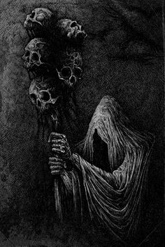 "poltergeist-dreams: ""†Angels and Demons† "" Dark Artwork, Metal Artwork, Dark Gothic, Gothic Art, Arte Horror, Horror Art, Dibujos Dark, Grim Reaper Art, Satanic Art"