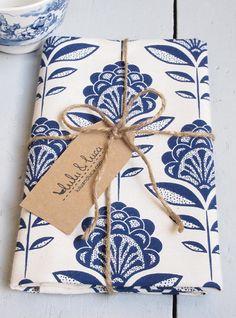Peacock flower print tea towel by luluandluca