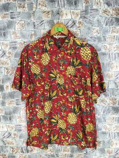 5ae450f4b HAWAIIAN Shirt Mens Medium Vintage 90s Honolulu Waikiki Pineapple Hawaii  Surf Ocean Aloha Rayon Button Up Red Oxfords Mens Size M