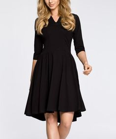 d96c7b277 Another great find on  zulily! Black Notch Neck Dress  zulilyfinds Dresses  For Work