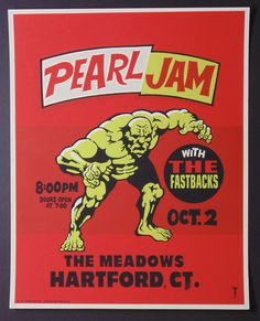 Pearl Jam Ames Bros / Costarella Poster Hardford 1996 very rare Pop Posters, Band Posters, Concert Posters, Event Posters, Gig Poster, Music Posters, Pearl Jam Posters, Pearl Jam Eddie Vedder, Poster Pictures
