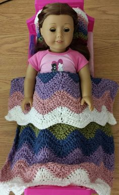 Crochet American Girl Ripple Blanket Matching Pillow