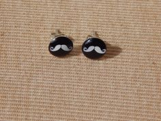 Mustache Earrings, Mustache Stud Earrings, Glass Dome Earrings, Glass Stud Earrings, Mustache, Moustache Earrings, Beard Jewelry, Moustache by VetroJewelryDesigns on Etsy