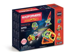 Magformers Space Wow Set (22 PCS) - Build spaceships and rockets with Magformers Space WOW 22Pc Set. Beginner builders can blast into space with the new astronaut character! Add antenna and wheels to create space buggy or search for extra-terrestrial life by building a space station. Great for young minds to learn about constructing cube nets, patterns, shapes and colours!
