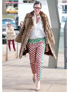 Day 8  J.Crew fashion guru Jenna Lyons demonstrates the power of the print with this leopard coat and polka dot trousers.  Street Style at Fall 2013 Fashion Week - NYFW Street Style Pictures - Marie Claire