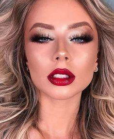 Red Dress Makeup, Red Lip Makeup, Glam Makeup, Eyeshadow Makeup, Bridal Makeup, Makeup Art, Beauty Makeup, Hair Makeup, Classy Makeup