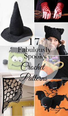 Projects Halloween 17 Fabulously Spooky Halloween Crochet Patterns: Don't let this ghostly season pass by without crocheting some fun Halloween-themed projects! Crochet Fall, Holiday Crochet, Crochet Gifts, Crochet Hooks, Free Crochet, Knit Crochet, Crochet Round, Adornos Halloween, Halloween Hats