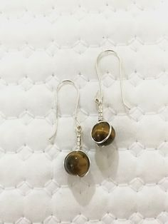 Dangle earrings, Tigers eye earrings, Gemstone, silver plated, 925 sterling acts £10.95