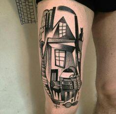 By Peter Aurisch | Berlin | #Dotwork #Blackwork #Cubism #Tattoo #House