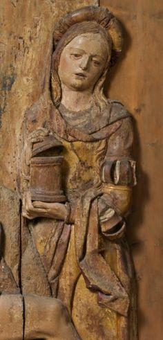 Magdalena, Pietat (lamentació) detall, talla de fusta amb traces de policromia, s.XVI Itàlia Santa Maria, Buddha, Religion, Mary, Statue, Mary Magdalene, Sculpture, Sculptures, Virgin Mary