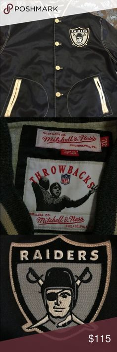 Raiders throw back coat 3x Never really used it lost weight Mitchell & Ness Tops Sweatshirts & Hoodies