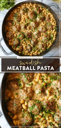 Think your favorite Swedish meatballs can't get any better? Wait until you try this easy meal! Tossed with elbow macaroni in a creamy sauce, this pasta recipe is such good comfort food. Save this family dinner idea!