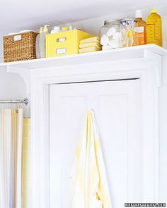Over the door shelf organization for a small bathroom