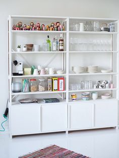 IKEA Ivar shelves, repainted white.