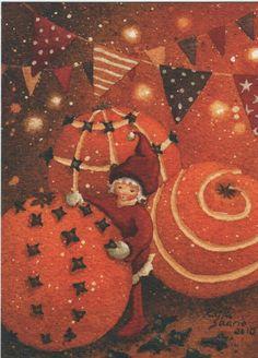 Katja Saario. Christmas Tale, Christmas Greetings, All Things Christmas, Mabon, Christmas Illustration, Winter Solstice, Equinox, Autumn, Fall
