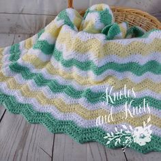 Baby crochet blanket  green and yellow and white by knotesandknots