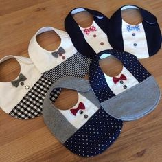 ◆ Handmade_Formal_Bow tie_Sty Set ◆ ◆ H Baby Sewing Projects, Sewing For Kids, Sewing Hacks, Baby Hoodie, Baby Bibs Patterns, Bib Pattern, Baby Crafts, Handmade Baby, Baby Accessories