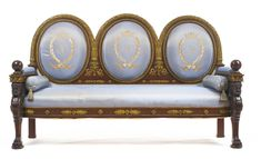 A FINELY CARVED EMPIRE STYLE PARCEL GILT AND MAHOGANY CANAPÉ FRANCE, CIRCA 1870, AFTER THE MODEL EXECUTED BY JACOB-DESMALTER, FROM A DESIGN BY PERCIER, FONTAINE AND CARTELLIER