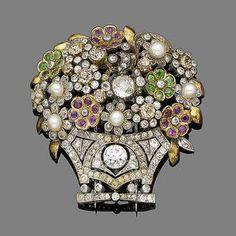 Bonhams 1793 : An early 20th century diamond and gem-set giardinetto brooch