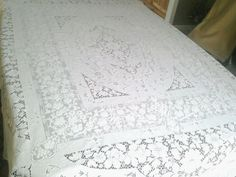 "White Cotton Crochet  Tablecloth. 69"" x 88"""