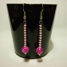 1.75€ au lieu de 2€ boucles d'oreilles pendantes en perles de rocaille rose DIY