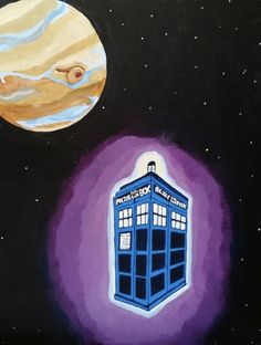 Featuring the T. on flyby of Jupiter Fanart Science Fiction Tv Shows, Tardis, Amy, Fanart, Entertaining, Prints, Artwork, Painting, Work Of Art