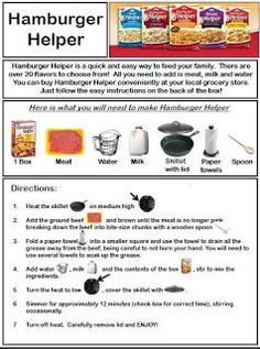 Hamburger Helper Recipe with Visuals I use this recipe to help my students who are non readers learn to cook. This recipe will work for [. Life Skills Lessons, Life Skills Activities, Teaching Life Skills, Life Skills Classroom, Classroom Ideas, Cooking In The Classroom, Hamburger Helper Recipes, Home Economics, Hamburgers