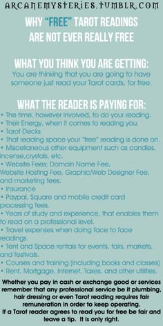 """arcanemysteries: Why """"Free"""" Tarot Readings Are Not Ever Really..."""