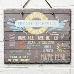 """This new Personalized """"Pool Rules"""" or """"Lake Rules"""" Slate Sign is adorable! This is perfect for the home pool or lake house! You can pick """"Lake Rules"""" or """"Pool Rules"""" for the top plus you can add your family name and up to 11 """"rules"""" that you can have fun with! It's a great hostess gift for pool parties too!"""
