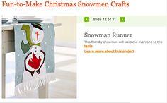 Snowman dinner table runner