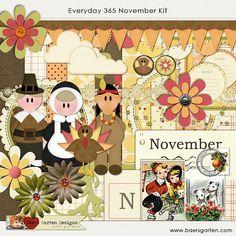 Digital Scrapbooking Kit November  Everyday by BaersGartenDigital, $6.95
