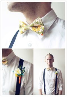 floral bow tie and white boutonniere (what a handsome guy!)