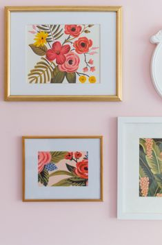 A fun and whimsical girl's room gallery wall inspired by the colors of Wes Anderson Wall Collage, Frames On Wall, Wall Art, South Shore Decorating, Drawing Frames, Artwork Display, Watercolor Illustration, Design Art, Gallery Walls