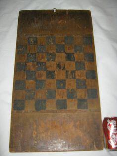 ANTIQUE AMERICAN PRIMITIVE SINGLE WOOD PLANK CHECKER GAME BOARD CHESS TOY PAINT #Americana #ANTIQUEPRIMITIVECIRCA1860s