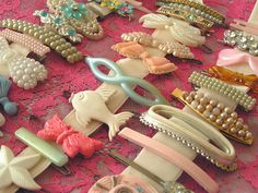 Vintage Hair Barrettes.     I would frame them and hang on the wall   never thought to collect these, now I will    Vintage art  for a special little girl's room