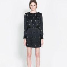 Zara Silk Flower Embroidered Dress With Pearls.