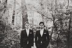 Classic Black & White Groom Style   White Pocket Square   Same-Sex Gay Wedding   Prospect Park   London NYC Brooklyn Wedding Photographer