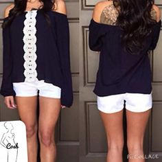 Black off the shoulders w/Lace Black off the shoulders top with white lace down front middle. Top has elastic @ top for off shoulders look. Top is short, stops @ end of waist. Have Small & Medium. Lace isn't see thru. Cycle Boutique Tops