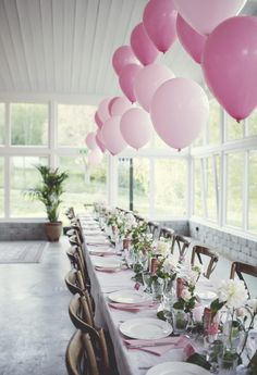 Spring party at Trendenser - pink table decorations and inspiring surroundings (add simplicity) - - Birthday Table, 60th Birthday Party, 60th Birthday Ideas For Mom Party, Happy Birthday, Budget Wedding, Wedding Table, Wedding Ideas, Baby Shower Decorations, Wedding Decorations