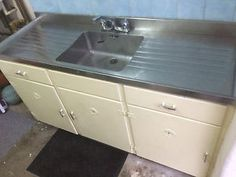 1950's VIntage Kitchen Sink Unit With Stainless Steel Top And Cupboards | eBay