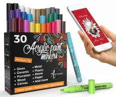 30 Acrylic Paint Markers Medium Tip for Rock Painting, Wood, Fabric, Paper, Ceramic & Glass Paint Marker Pen, Acrylic Paint Pens, Fabric Paint Pens, Ceramic Painting, Rock Painting, Stone Painting, Painting Canvas, Painting Tips, Canvas Art