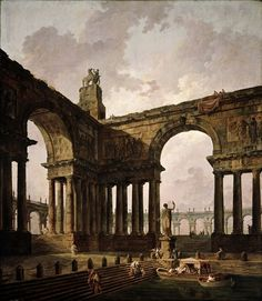 The Landing Place. 1787-88. Hubert Robert. French 1733-1808. oil/canvas.