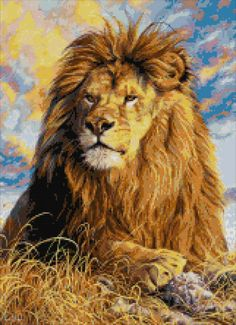 Watchful eyes  lion counted cross stitch kit by YiotasXStitch