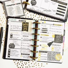 "167 Likes, 8 Comments - Rochelle (@msrochellemarie) on Instagram: ""A little New Years black and gold theme this week in my Happy Planner mini! Happy New Years Eve! """