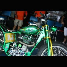 Green Royal Enfield at the 2014 Johnstown, PA Thunder in the Valley (2015 dates are June 25 to 28)  **MORE Pictures at blog.lightningcustoms.com/thunder-in-the-valley-pictures/  #thunderinthevalley #johnstownthunderinthevalley #johnstownparally